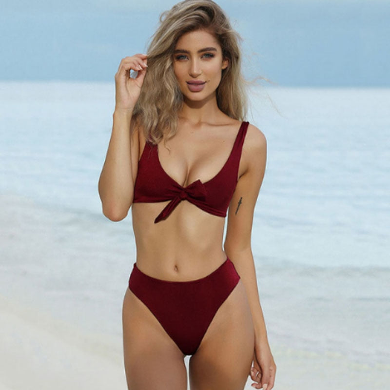 V Neck Bow Tie Bikini- Maroon, Red, White and Black
