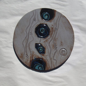 "#728C - Large Round Ceramic Tile - 9"" dia."