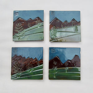 "#741A - Ceramic Tile Set in Gift Box  ( 4"" x 4"" tiles)"