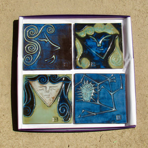 "#743A - Ceramic Tile Set in Gift Box  (5.5"" x 5.5"" tiles)"