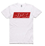 White Tee with Red Retro Logo