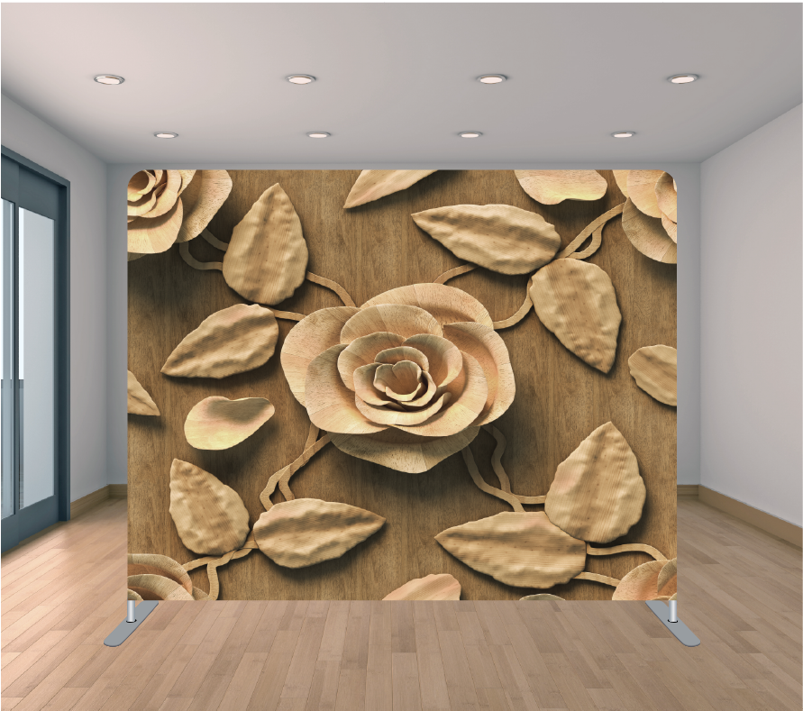 8x8ft Pillowcase Tension Backdrop- 3D Brown Roses