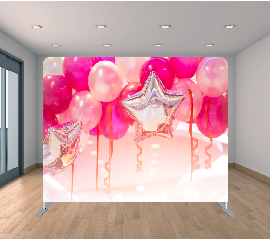 8x8ft Pillowcase Tension Backdrop- 3D Pink Balloons