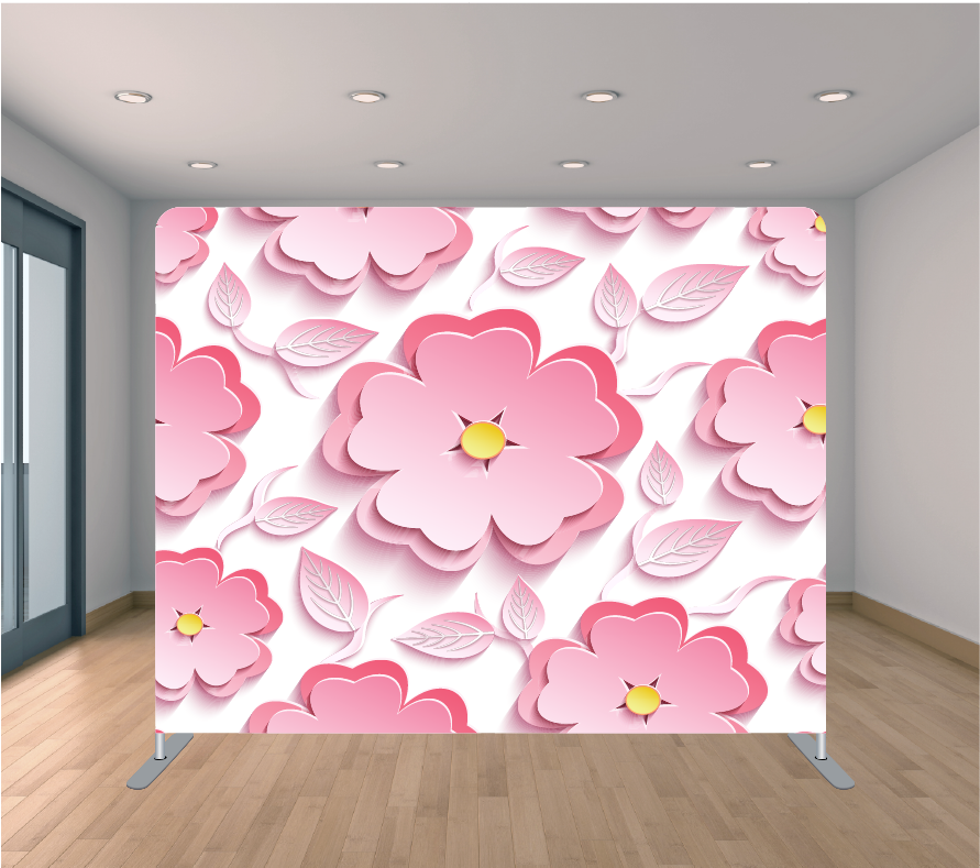 8x8ft Pillowcase Tension Backdrop- 3D Pink Flowers