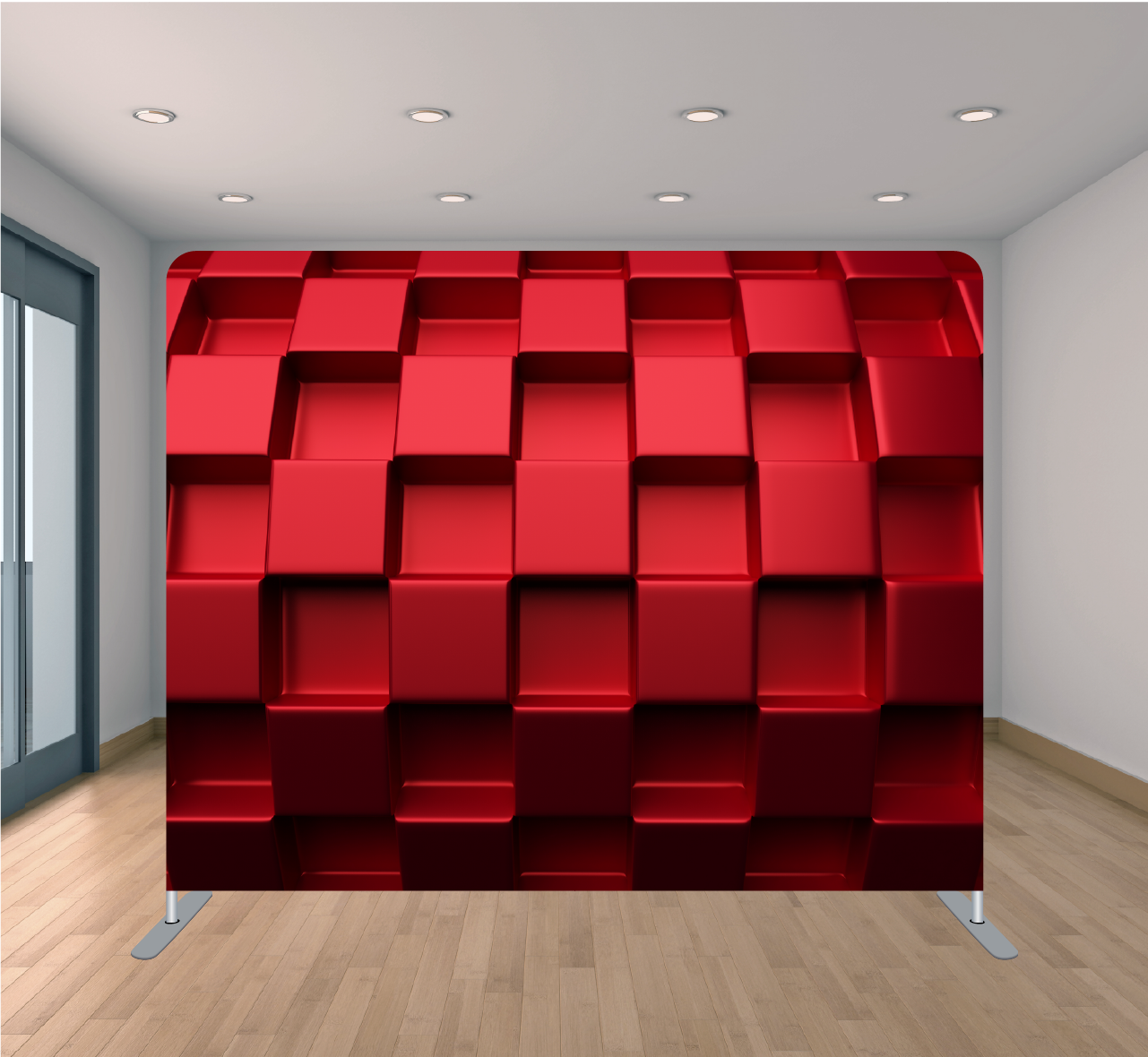 8X8ft Pillowcase Tension Backdrop- 3D Red Blocks