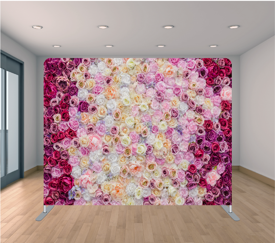 8X8ft Pillowcase Tension Backdrop- All Around Roses