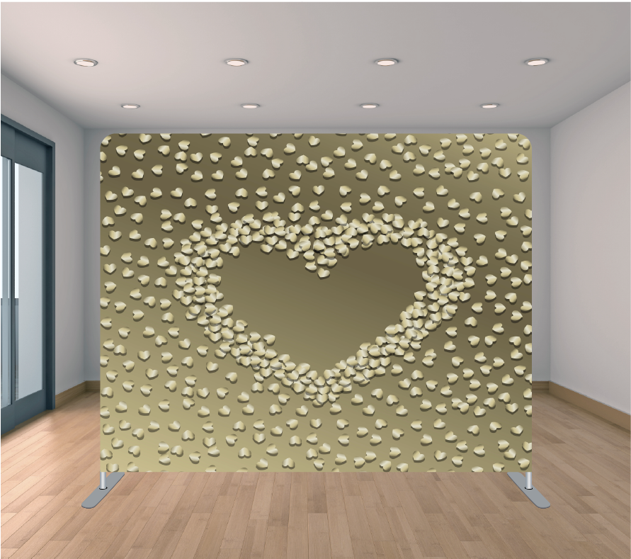 8X8 Pillowcase Tension Backdrop- Baby Gold Hearts