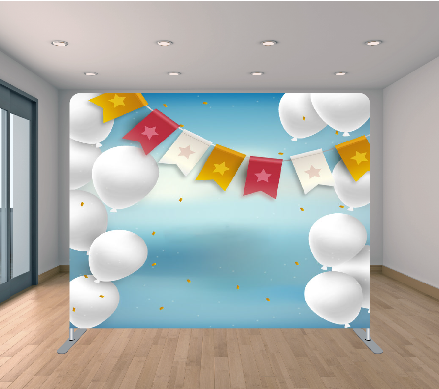 8x8ft Pillowcase Tension Backdrop- Baby Blue Balloon