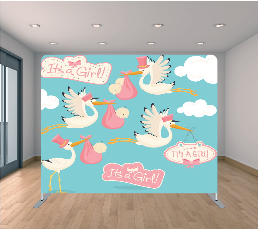 8X8ft Pillowcase Tension Backdrop- Baby Shower Girl 4