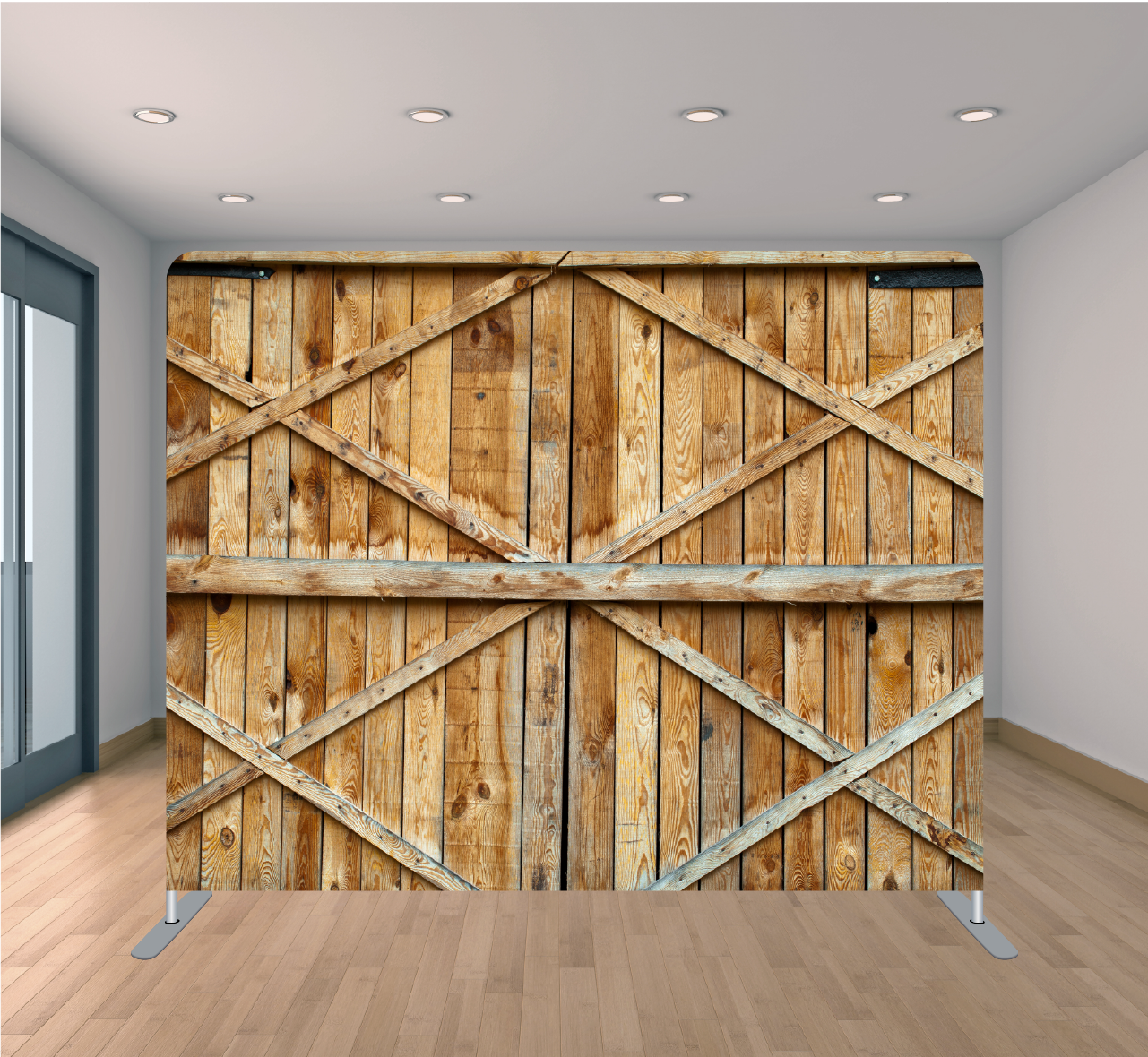 8x8 Pillowcase Tension Backdrop- Barn Doors