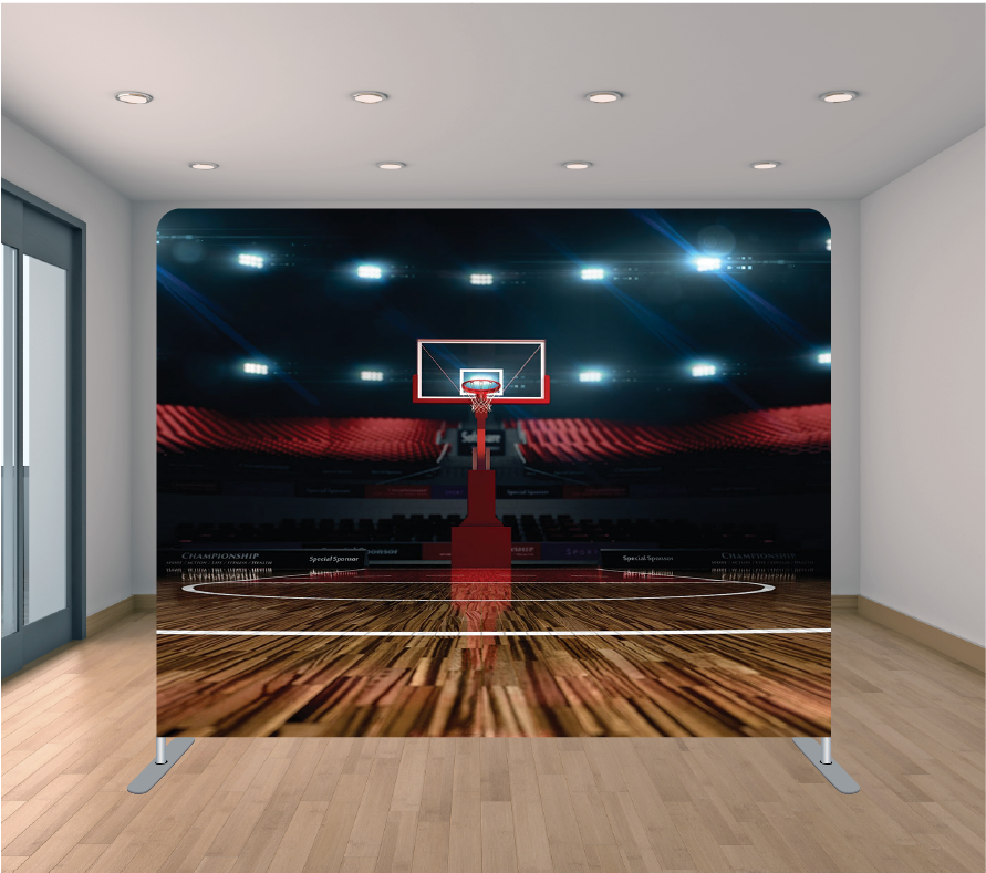 8X8ft Pillowcase Tension Backdrop- Basketball Court