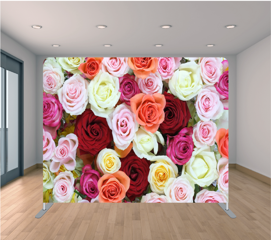 8X8ft Pillowcase Tension Backdrop- Beauty Roses
