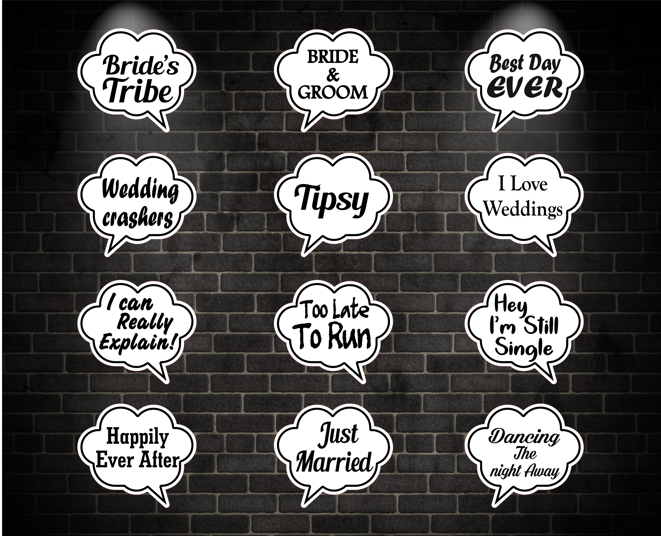 Wedding Oversized Speech Bubble Signs includes Free Shipping