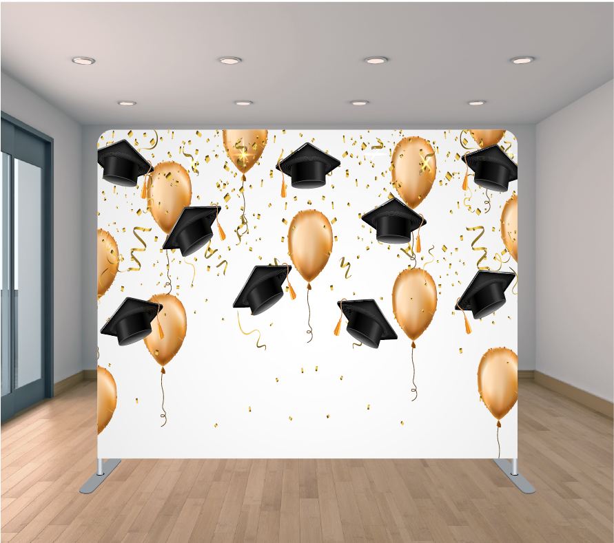 8X8ft Pillowcase Tension Backdrop- Black Grad Caps