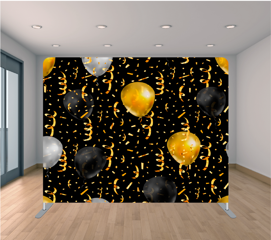 8X8ft Pillowcase Tension Backdrop- Black and Gold Balloons
