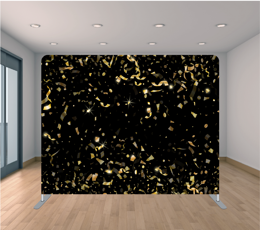 8X8ft Pillowcase Tension Backdrop- Black and Gold Confetti