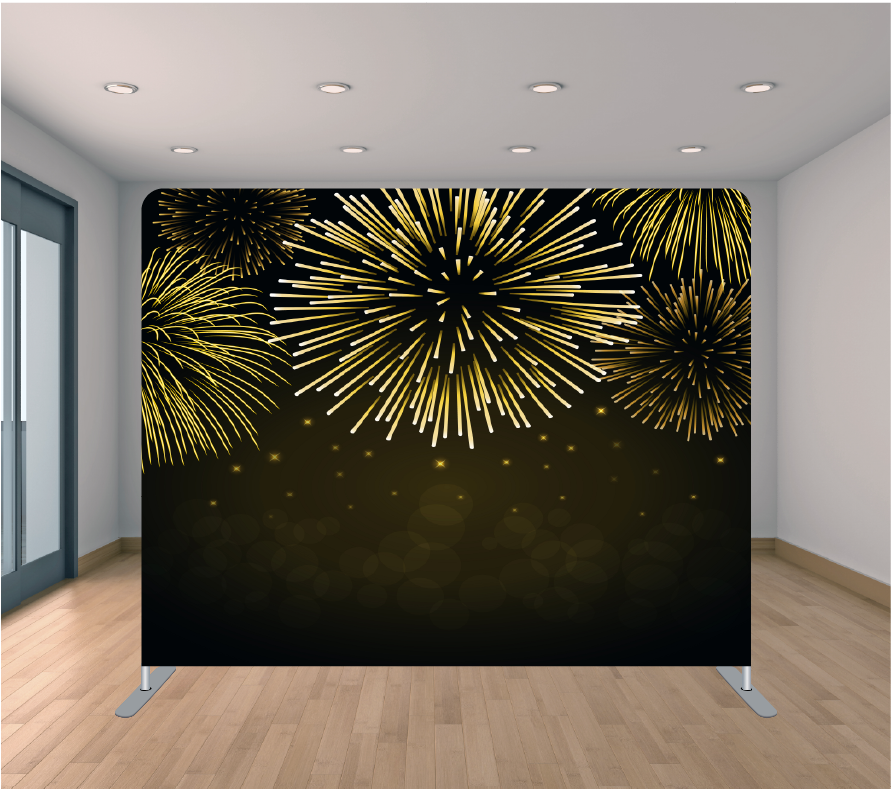 8X8ft Pillowcase Tension Backdrop- Black and Gold Fireworks
