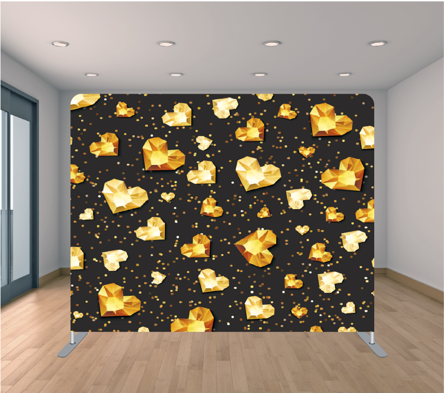 8X8ft Pillowcase Tension Backdrop- Black and Gold Hearts