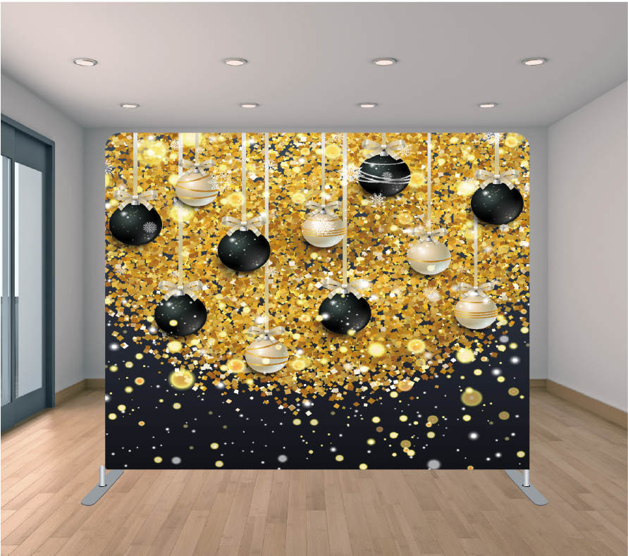 8X8ft Pillowcase Tension Backdrop- Black and Gold Ornaments