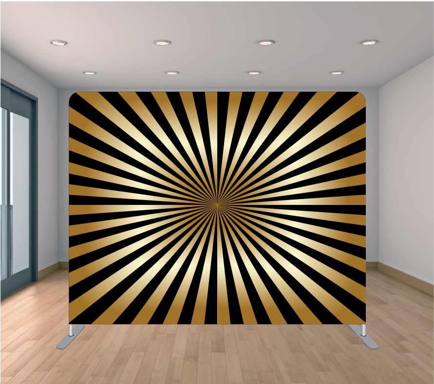 8X8 Pillowcase Tension Backdrop- Black and Gold Rays