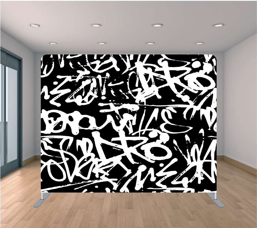 8X8ft Pillowcase Tension Backdrop- Black and White Graffiti