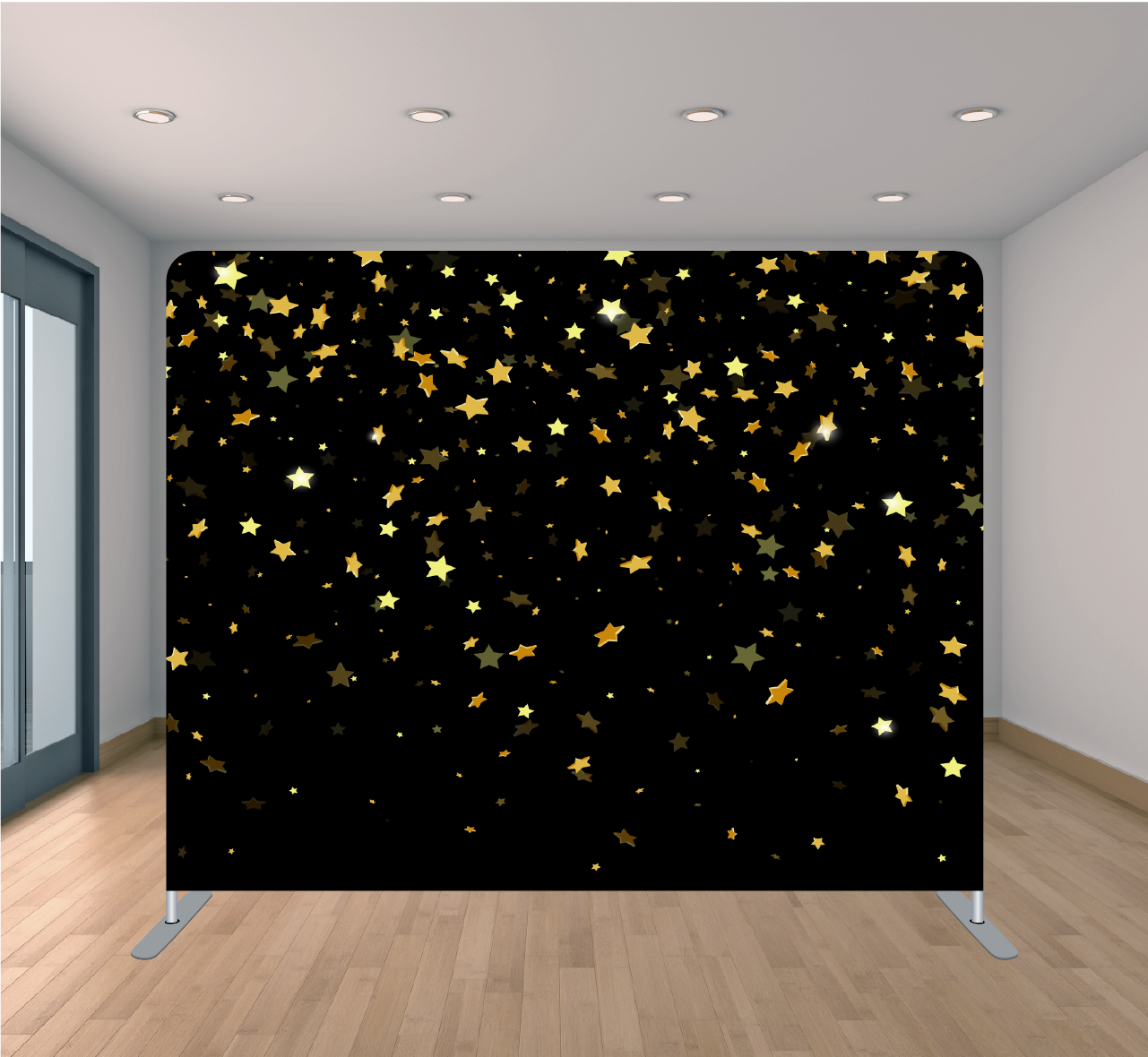 8x8ft Pillowcase Tension Backdrop- Black with Yellow Stars