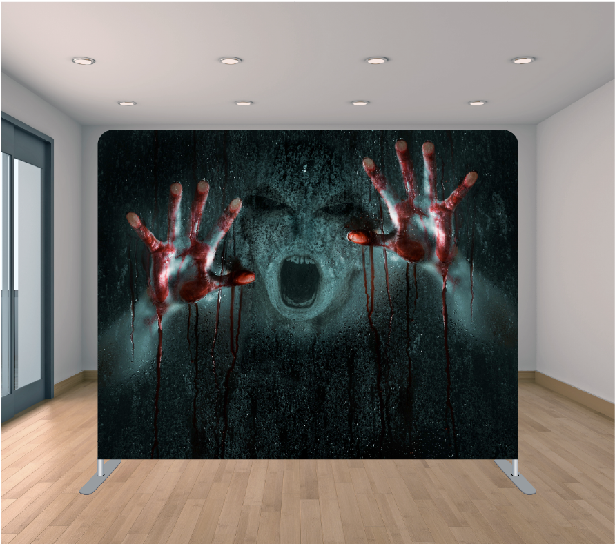 8x8ft Pillowcase Tension Backdrop- Bloody Hands (Halloween)