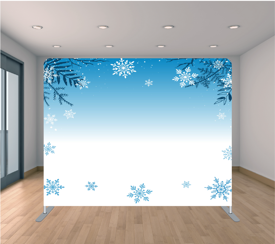 8x8ft Pillowcase Tension Backdrop- Blue Branch Flakes (Holiday)