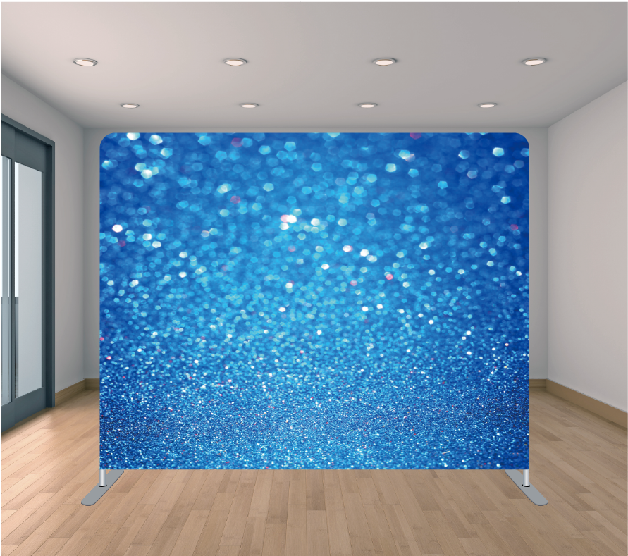 8X8ft Pillowcase Tension Backdrop- Blue Glitter