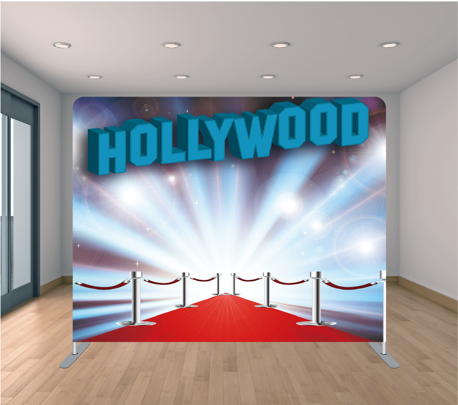 8X8ft Pillowcase Tension Backdrop- Blue Hollywood