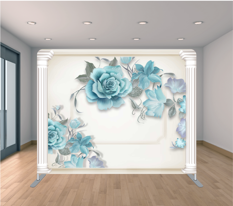 8x8ft Pillowcase Tension Backdrop- Blue Rose Middle