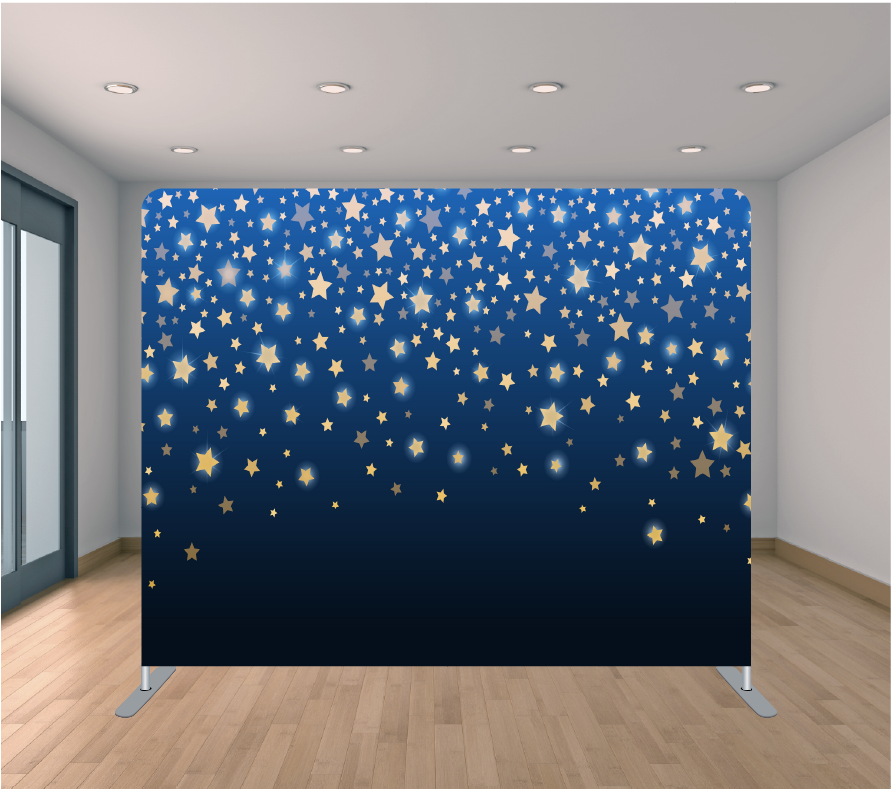 8X8ft Pillowcase Tension Backdrop- Blue Stars