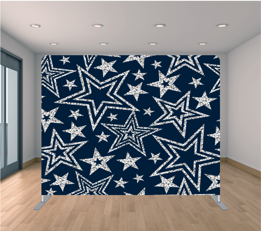 8X8ft Pillowcase Tension Backdrop- Blue with Silver Stars