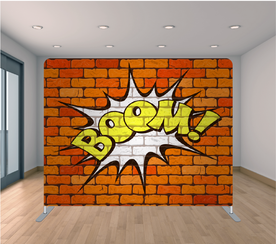 8x8ft Pillowcase Tension Backdrop- Brickwall Boom