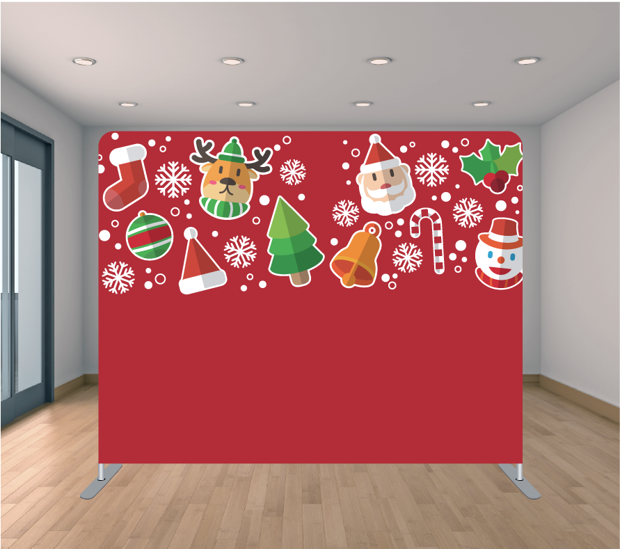 8X8ft Pillowcase Tension Backdrop- Candy Stockings (Holiday)