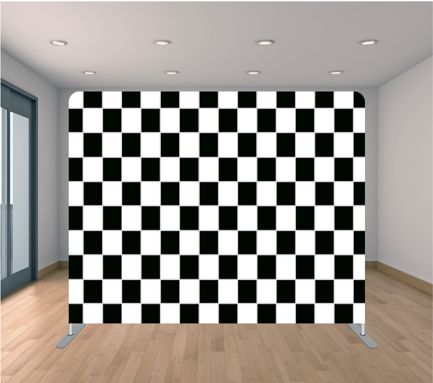 8X8ft Pillowcase Tension Backdrop- Checker Board