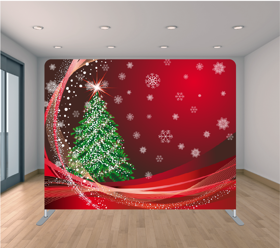 8X8ft Pillowcase Tension Backdrop- Christmas Flakes (Holiday)