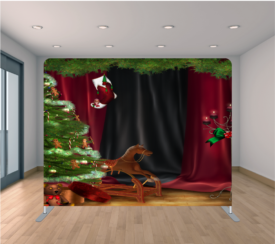 8X8ft Pillowcase Tension Backdrop- Christmas Presents