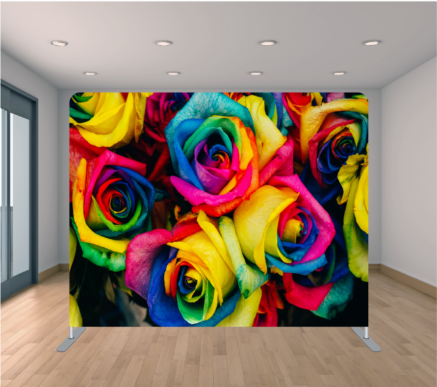 8X8ft Pillowcase Tension Backdrop- Colorful Large Roses