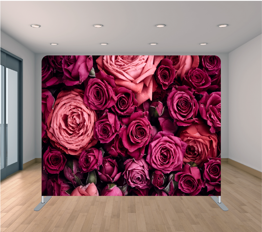 8X8ft Pillowcase Tension Backdrop- Dark Pink Roses