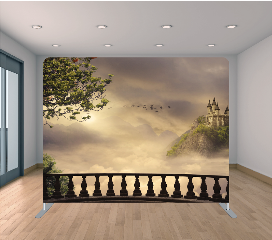 8X8ft Pillowcase Tension Backdrop- Fairytale Castle