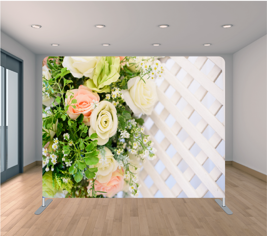 8X8ft Pillowcase Tension Backdrop- Fenced Flowers