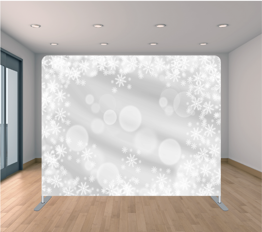 8X8ft Pillowcase Tension Backdrop- Flake Bokeh (Holiday)