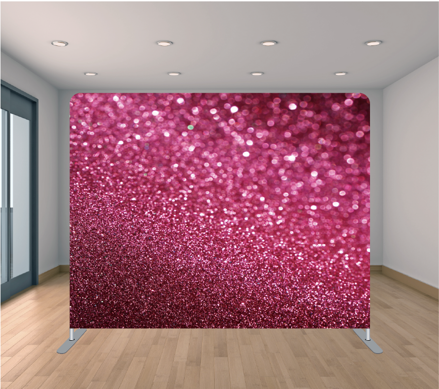 8X8ft Pillowcase Tension Backdrop- Fuchsia Glitter