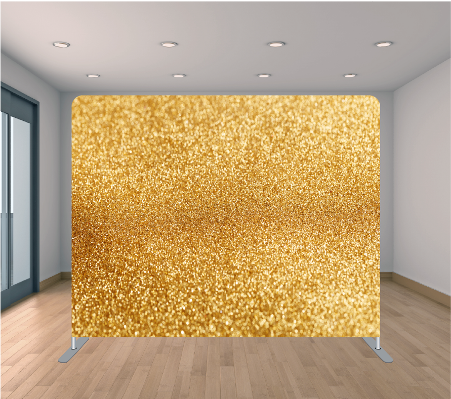 8x8ft Pillowcase Tension Backdrop- Gold Glitter