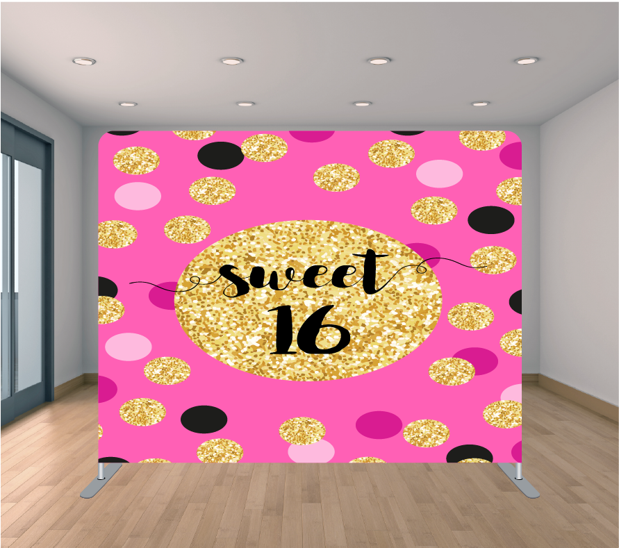 8x8ft Pillowcase Tension Backdrop- Gold Glitter Sweet 16