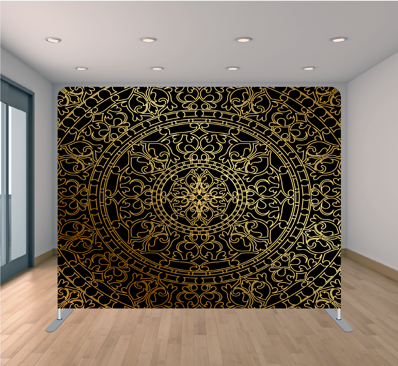 8x8ft Pillowcase Tension Backdrop- Gold Oriental