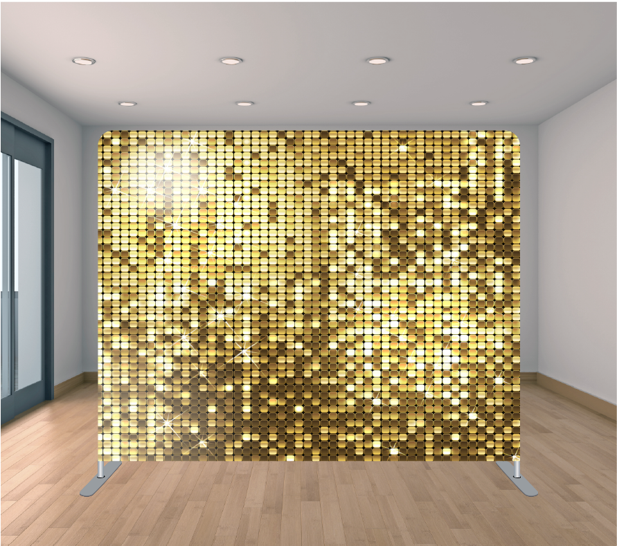 8X8ft Pillowcase Tension Backdrop- Gold Sequin