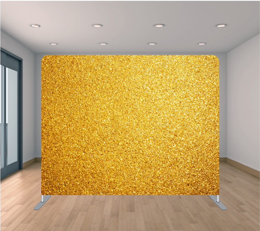 8X8ft Pillowcase Tension Backdrop- Gold Sparkle