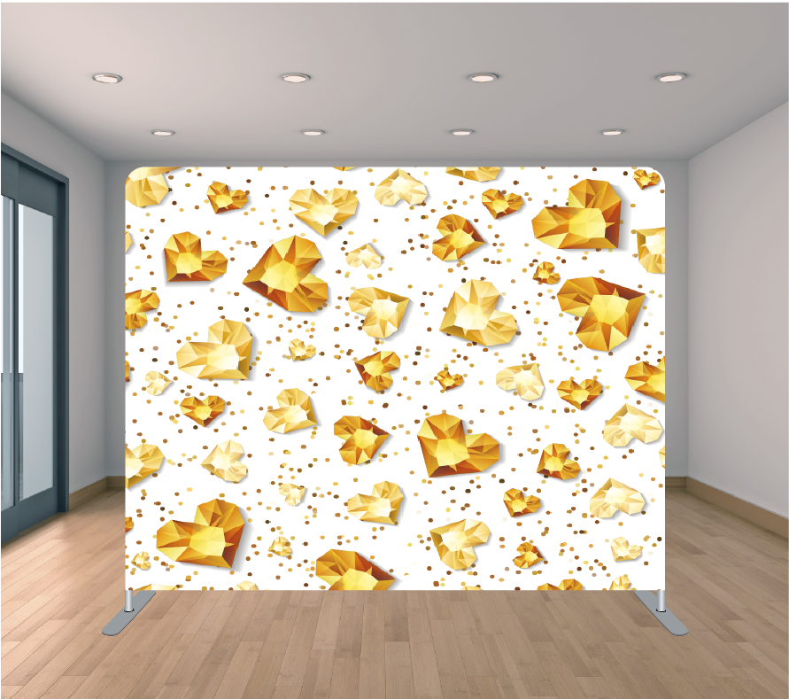 8X8ft Pillowcase Tension Backdrop- Gold Sparkly Hearts